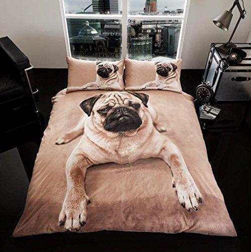 bezug- und Kissen-Garnitur, dreiteilig, von Premium-Kollektion, 3D-Mops-Hund, multi, Doppelbett (Bettwäsche-schaum)