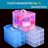 #6: Tied Ribbons 3 Tier 18 Slots Dustproof Jewellery Craft Accessories Organizer Box Container for Office Home Hostel-(14 cm X 14 cm,Plastic,Multicolor)
