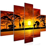 Bilder Afrika Sonnenuntergang Wandbild 150 x 100 cm Vlies - Leinwand Bild XXL Format Wandbilder Wohnzimmer Wohnung Deko Kunstdrucke Orang 5 Teilig -100% MADE IN GERMANY - Fertig zum Aufhängen 000253a