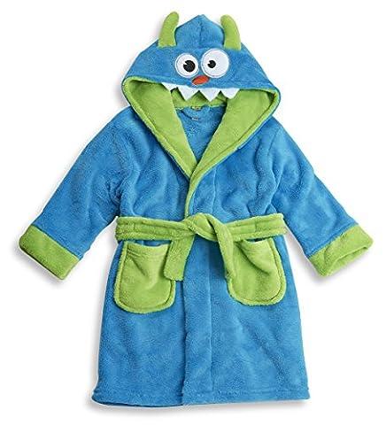 MINIKIDZ Childrens Kids Boys Blue Monster Fleece Dressing Gown Robes