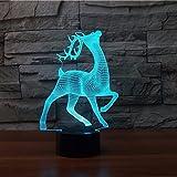 3D hirsch - liebe Optische Illusions-Lampen, Tolle 7 Farbwechsel Acryl berühren Tabelle Schreibtisch-Nachtlicht mit USB-Kabel für Kinder Schlafzimmer Geburtstagsgeschenke Geschenk