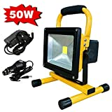 Noza Tec 50W Rechargeable LED Work Light, IP65 Waterproof Outdoor Spotlights, 12V Portable Daylight White Flood Light for Camping, Workshop, Job Site, Garages - Adapter and Car Charger Included