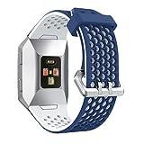 Armband, yustar New Ersatz Silikon atmungsaktiv Smart Watch Band Strap Armband für Fitbit Ionic Herzfrequenz Fitness Tracker M blau / weiß