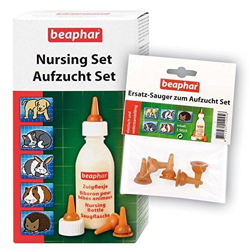 Beaphar Aufzucht Set 11346 (Flasche, Bürste & Sauger) + 5 Ersatz-Sauger für Welpen Kätzchen Nager Igel