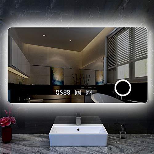 YGH Nuevos Espejos de Baño Inteligentes, Pantalla Táctil Moderna LED Desempañador Ajustable con Alimentación...