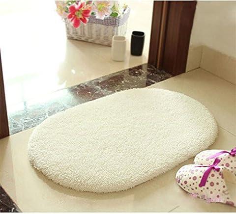 SANNIX Oval Shaped Super Soft Fluffy Non-slip Rug Bathroom Bedroom Kitchen Livingroom Carpet Mat Candy Color Creamy