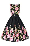 Babyonline Women 1950s Vintage Floral Print Rockabilly Swing Party Dress