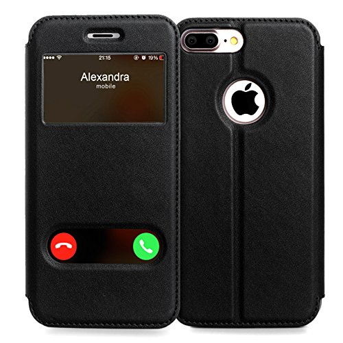 Funda iPhone 8 Plus, Funda iphone 7 plus fundas, Fyy De Soporte Magnetico en la Parte Cubierta y Funcion de Ventana con Vista a Pantalla Superior para Apple iphone 7 plus fundas / iPhone 8 Plus Negro