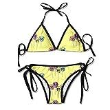 Sexy Women Triangle Bikini Set SetSkull Lollipop Repeat Print Padded Beach Suit Spaghetti Strap Swimwear Low Waisted Swimsuit Brazilian 2PCS