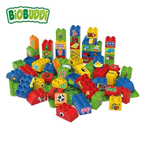 nbausteine-Set Boys; biologische Bausteine zum Stecken kompatibel zu anderen Marken; hergestellt aus Bio-Kunststoff; zwei Grundplatten; besonders umweltfreundlich; ab 1,5 Jahren ()