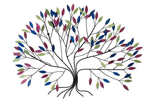 Kunstloft® scultura da parete in metallo 'crescita selvaggia' 102x76x11cm   decorazione da parete xxl design fatto a mano   albero colorato multicolore   quadro in metallo lussuoso plastico murale