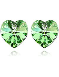Crystal Heart Shape Stud Earrings Made with Swarovski Crystal, with a Gift Box
