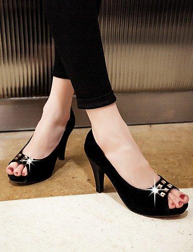 WSS 2016 Chaussures Femme-Habillé / Soirée & Evénement-Noir / Beige / Amande-Gros Talon-Bout Ouvert-Talons-Similicuir beige-us8.5 / eu39 / uk6.5 / cn40