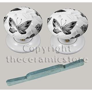 Pair Of Ceramic Mortice Door Knobs Black Butterfly Design