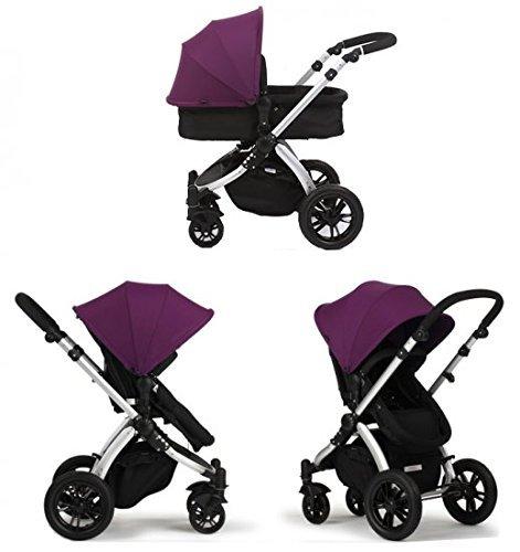 Sistema Trio Ibaby One: Passeggino + Carrozzina Morbida + Seggiolino per Auto di Gruppo 0, Colore Purple
