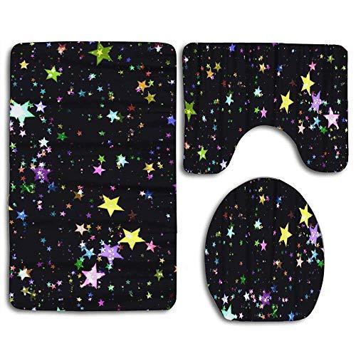 DFHome Badezimmer-Matte stellt 3 Stück EIN Colorful Stars Dense Star Black Kids Bathroom Rug Mats Set 3 Piece Shower Bath Rugs Contour Mat Lid Cover