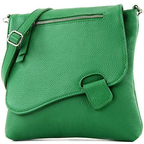 modamoda de - T146 - ital Messenger-/Umhängetasche aus Leder, Farbe:Blattgrün -