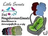 Little Sweetz ** 2in1 COSY SOFT MAXI ** Sitzverkleinerer mit abnehmbarem Kopfteil / NeugeborenenEinsatz mit Sommer- und Winterseite für BabyAutositz Gr. 0/0+ wie z.B. Maxi Cosi, Römer, Kinderwagen, Hochsttuhl etc. (Marine)