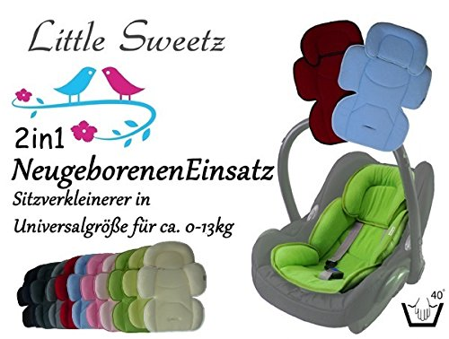 Little Sweetz ORIGINALS ** Auto-Sitzverkleinerer 2in1 Cosy Soft MAXI ** Sommer- und WinterSeite -- Ideal auch für Maxi Cosi, Cybex etc. sowie Kinderwagen, Hochstuhl etc. (Schwarz)