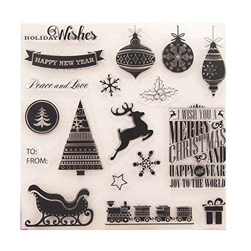 Suweqi Transparent Stempel (Fröhliche Weihnachten) DIY Handwerk Silikon Clear Stamps Für Album Foto Sammelalbum Präge Scrapbooking -