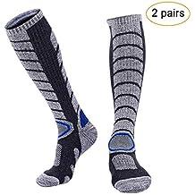 Arcweg 2 Pares Calcetines de Esquí Deportivos Térmicos Medias de Invierno Hombre Calcetines de Compresión Rodillas