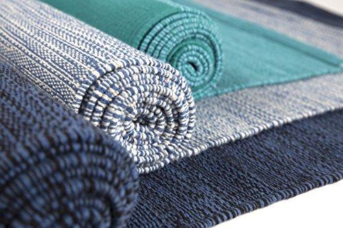 Elephant Yoga - Handgewebte Matte aus biologischer Baumwolle - Ideal für Ashtanga Yoga und andere Yogaarten … (Türkis)
