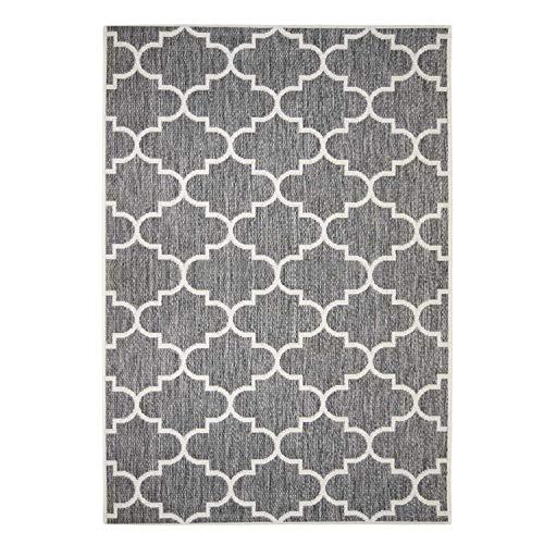 Outdoor-Teppich Flachgewebe Modern mit Marokkanischen Muster in Grau für Außen/Innengewebe Größe 80/150 cm