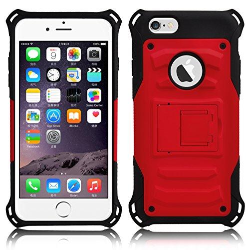 JAMMYLIZARD | Dreiteilige Aluminium Schutzhülle für [ iPhone 6 & 6s 4.7 Zoll ], GOLD Alien - ROT