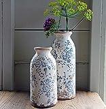 Bluebell Yard Blumenvase aus Keramik, klein, Blau/Weiß