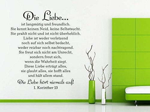 KLEBEHELD® Wandtattoo Die Liebe ist langmütig und freundlich... - 1. Korinther 13 ( Farbe pink / Größe 88x100cm ) Korinther Wandtattoo
