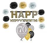 Feste Feiern Geburtstagsdeko Zum 70 Geburtstag I 16 Teile Pompon Girlande Luftballons Gold Schwarz Silber Party Deko Set Happy Birthday