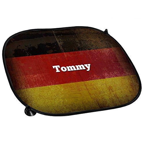 Auto-Sonnenschutz mit Namen Tommy und schöner Deutschland Flagge für Fußballfans