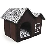 Luxury High-End Double Pet House Brown Dog Room 55 x 40 x 42 cm