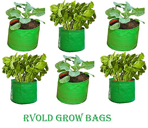 """Rvold Terrace Gardening Leafy Vegetable UV Stabilized Green Grow Bag (Size:12"""" X 15"""" - Round Shape - 200 GSM) Pack of 6"""