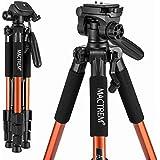 Trípode Cámara Reflex – Mactrem Trípode Completo Flexible PT55 con Rótula para DSLR EOS Canon Nikon SONY – Trípode para Viajes (Naranja)