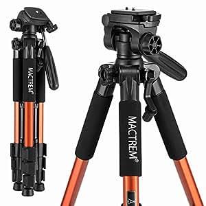 Treppiede reflex Mactrem Leggero Estensibile Lega di Alluminio 140cm Testa 3 Vie Capacità 5kg 4 Sezioni con Custodia per Canon Nikon Sony GoPro Videocamera DSLR (Arancione)