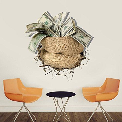zimmer Eine Tasche Mit Geld Dollar Pfund 3D Wandaufkleber Kreative Büro Wohnzimmer Wandkunst Aufkleber Home Decor Vinyl Aufkleber Poster 45X45 cm ()