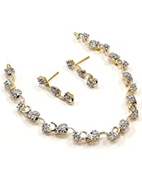 Silvestoo India Cubic Zircon Gold Plated Necklace & Earring Set For Women & Girls PG-113151