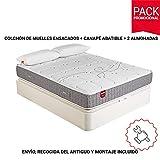 PIKOLIN Pack Colchón Troas de muelles ensacados 90x200 + canapé con Base...