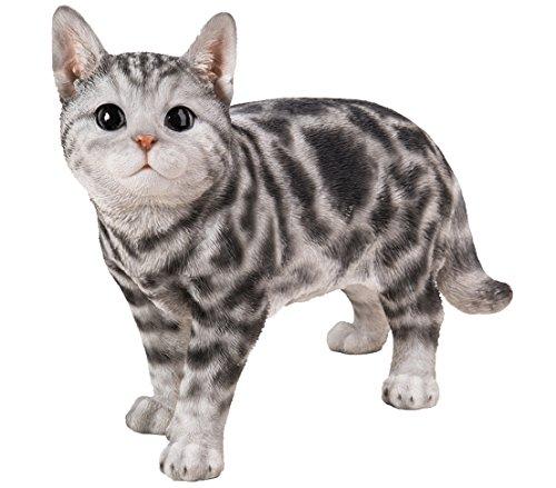 Dehner Dekofigur Katze stehend getigert, ca. 40 x 16 x 29 cm, Polyresin, grau