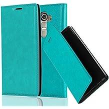 Cadorabo - Funda Book Style Cuero Sintético en Diseño Libro LG G4 - Etui Case Cover Carcasa Caja Protección con Imán Invisible en TURQUESA-PETROL