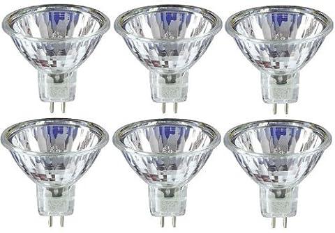 6 x STATUS 20W 12V Dichroic MR11 GU4 Halogen Lamp, Low Voltage Dimmable Reflector GU 4 Spot Light Bulbs, Cool Beam, 3 Years Life, 30° Beam Angle/ Flood