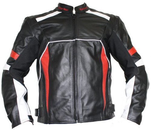 German Wear Chaqueta de piel moto chaqueta de piel de vacuno Chaqueta...