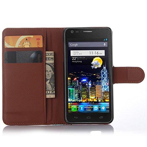 Manyip Téléphone Coque - PU Cuir rabat Wallet Housse [Porte-cartes] multi-Usage Case Coque pour pour Alcatel One Touch idol ultra OT6033 Classique Mode affaires Style(JFC3-7) A