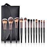 BESTOPE Make Up Pinsel Set mit Leder Tasche Pinselset Kosmetik 14 Stück Professionelles Kosmetikpinsel Schminkpinsel Kabuki Foundation Beauty Tools