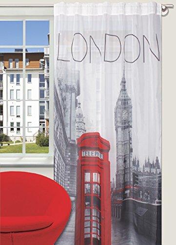 Splendid london - tenda con passanti nascosti, 140 x 245 cm, colore: grigio
