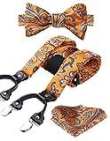 Hisdern Verschiedene klassische 6 Clips Suspender & Bowtie und Einstecktuch Set Y Form verstellbare Hosentrager