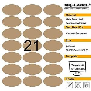 Mr-Label® Brown di pettine ovale Kraft Etichette -Self autoadesivi adesivi per la decorazione regalo | artigianale a mano | Finishing Touch (25 fogli / Totally 525 pezzi Etichette (10 fogli / 210pcs Totalmente Etichette)