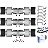 JAKABA Premium Quality Wenge & Silver Finish Stainless Steel and Alloy Curtain Finials with Heavy Supports - PACK of 12 Pcs. (Finials : 6 Pcs + Supports : 6 Pcs) : Curtain Brackets Set / Holders for Window / Door - (JKB116WGSL-03)