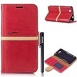 BtDuck Handyhülle Sony Xperia Z3 Compact / Z3 Mini Hülle Leder Rot Slim Lederhülle mit Stand Funktion und Karte Halter Magnet Tasche Flip Einfach Silikon Cover Retro Design